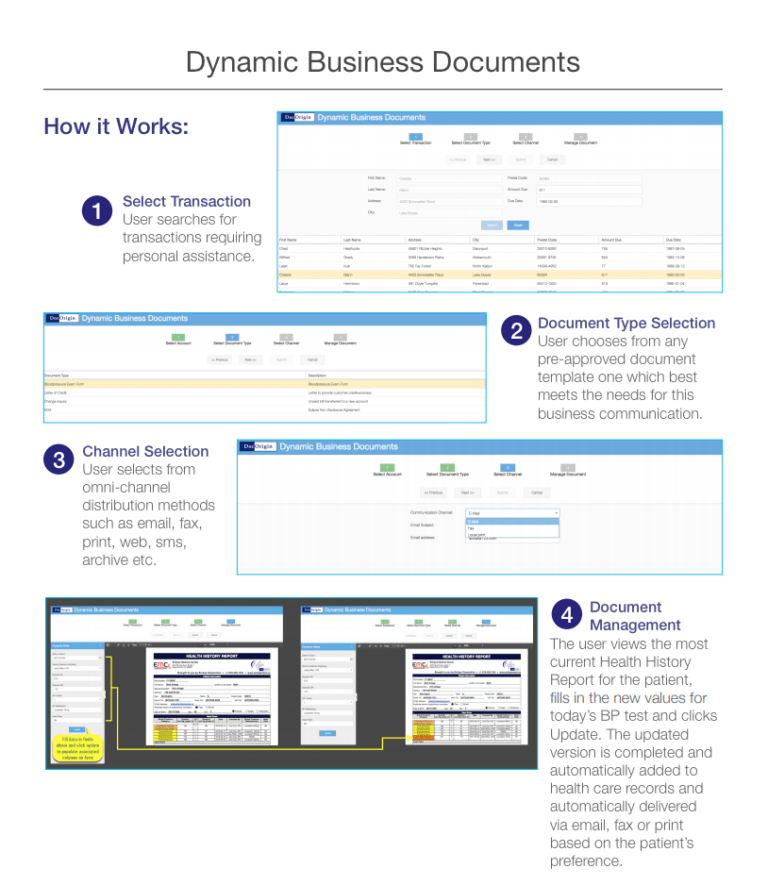 DBD allows document generation in 4 easy steps