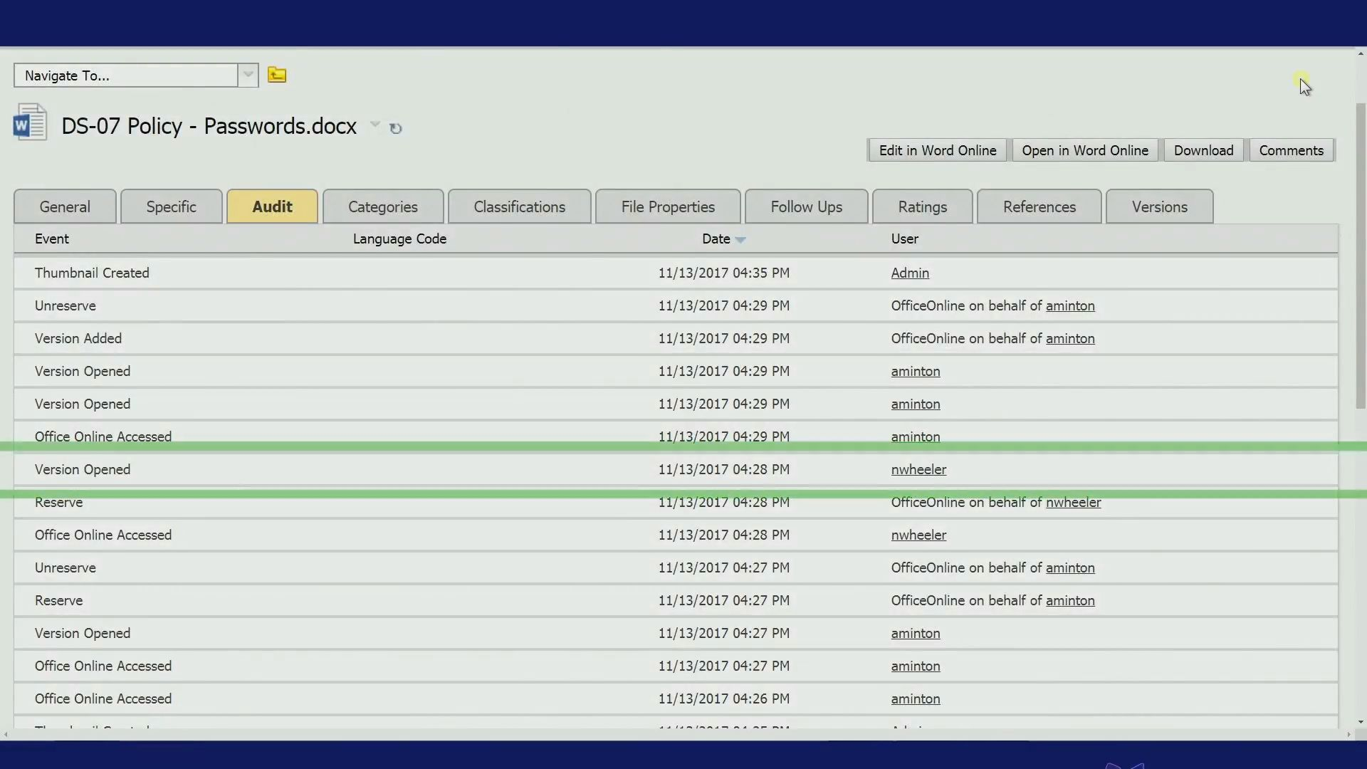 document version compliance when co-authoring documents with office online and opentext content suite