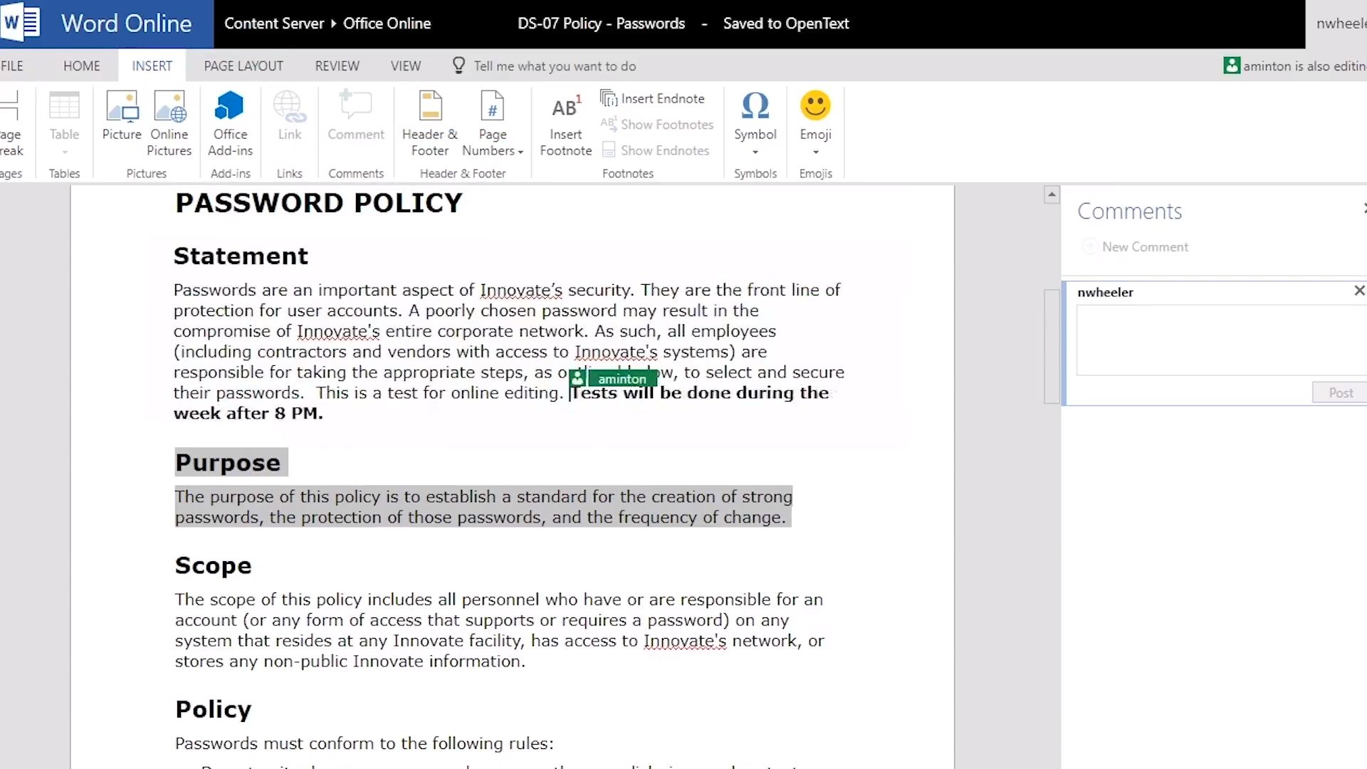 Microsoft office word online editing with opentext content suite; Microsoft word online collaboration with OpenText