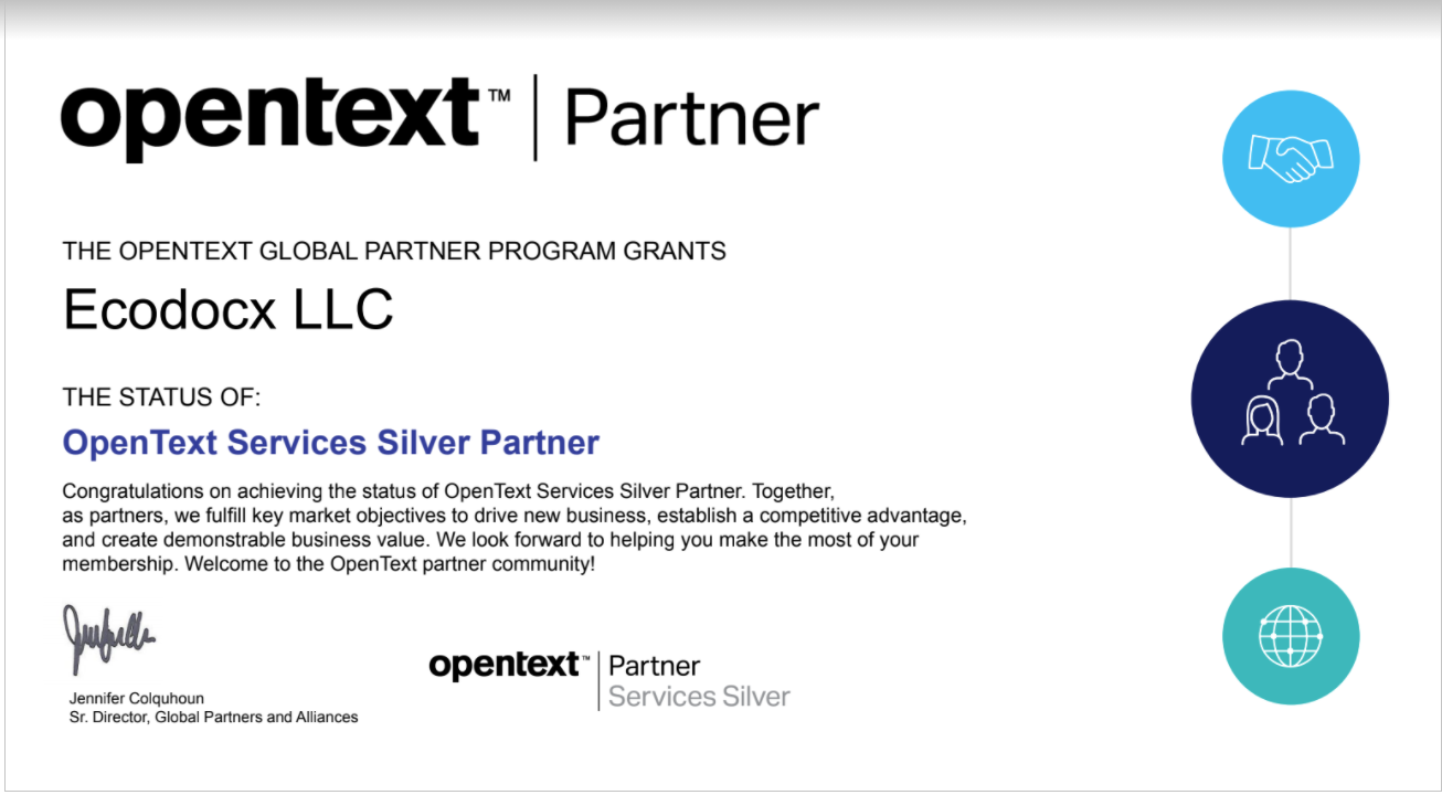 ecodocx recognized as opentext services silver partner